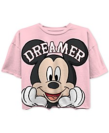 Juniors' Mickey Mouse Dreamer Cropped Graphic T-Shirt