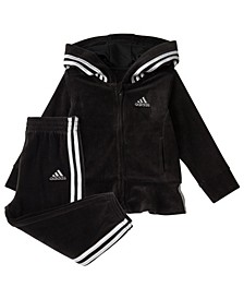Baby Girls Zip Front Hooded Jacket and Jogger Pants Track Set