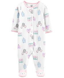 Carters Baby Girl Animals Snap-Up Fleece Sleep & Play