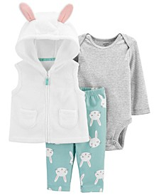 Carters Baby Girl 3-Piece Bunny Little Vest Set