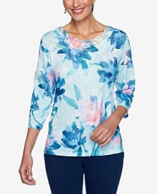 Women's Missy Denim Friendly Watercolor Floral Top