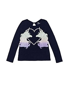 Big Girls Long Sleeve Twist Back Cut Out Graphic Tee