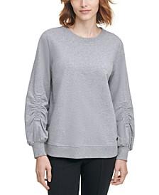 Ruched-Sleeve Sweatshirt