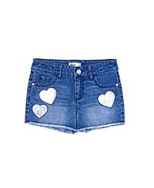 Big Girls Flip Sequin Graphic Denim Shorts