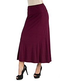 Women's Plus Size Elastic Waist Maxi Skirt