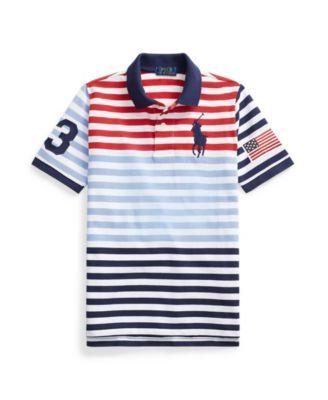 폴로 랄프로렌 보이즈 폴로티 Polo Ralph Lauren Big Boys Striped Cotton Mesh Polo Shirt,Evening Post Red Multi