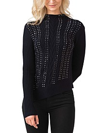 Women's Black Label Embellished Cable Stitch Pullover Sweater