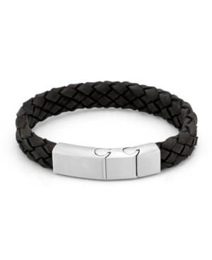 Men's Brushed Steel Black Leather Woven Bracelet