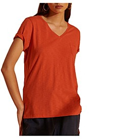 Women's Organic Cotton Scripted V-Neck T-Shirt