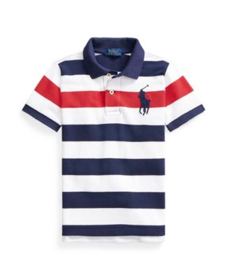폴로 랄프로렌 남아용 폴로티 Polo Ralph Lauren Little Boys Striped Cotton Mesh Polo Shirt,Newport Navy Multi