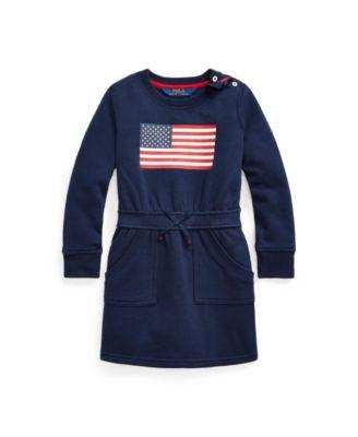 폴로 랄프로렌 여아용 원피스 Polo Ralph Lauren Toddler and Little Girls Flag Blend Fleece Dress,Newport Navy