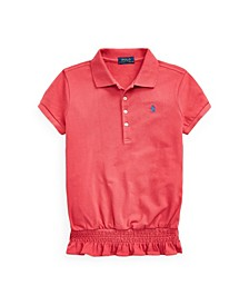 Big Girls Smocked Stretch Mesh Polo Shirt