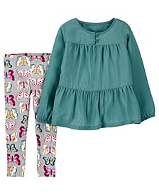 Carters Toddler Girl 2-Piece Tiered Top & Butterfly Legging Set