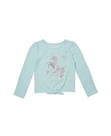 Toddler Girls Long Sleeve Tie Front Graphic Tee