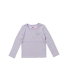 Little Girls Long Sleeve Striped Thermal Top