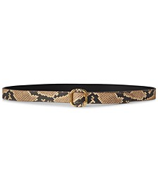 Snake-Embossed Leather Slide-Buckle Belt