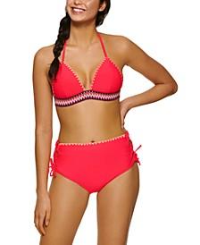 Juniors' Zig-Zag Zinc Triangle Bikini Top & Cheeky High-Waist Bikini Bottoms, Created for Macy's