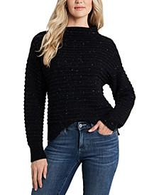 Mock-Neck Speckled Sweater