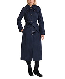 Single-Breasted Hooded Maxi Trench Coat