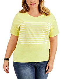 Plus Size Cotton Drop-Shoulder T-Shirt, Created for Macy's