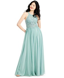 Appliqué-Lace Halter Ball Gown, Created for Macy's