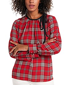 Billie Tie-Neck Plaid Blouse, Created for Macy's