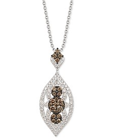 Nude Diamond & Chocolate Diamond Marquise Necklace (2-1/2 ct. t.w.) in 14k White & Rose Gold