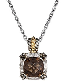 "Citrine 18"" Pendant Necklace (6 ct. t.w.) in Sterling Silver & Gold-Plate (Also in Green Quartz & Smoky Quartz)"