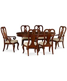 Closeout! Bordeaux 7-Piece Round Dining Room Set (Round Pedestal Dining Table, 4 Queen Anne Side Chairs & 2 Arm Chairs)