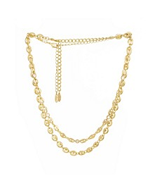Simple Gold Plated Link Chain Necklace Set