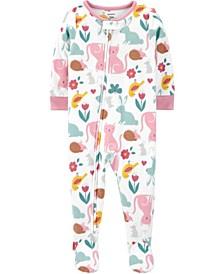 Baby Girls 1-Piece Animals Fleece Footie PJs