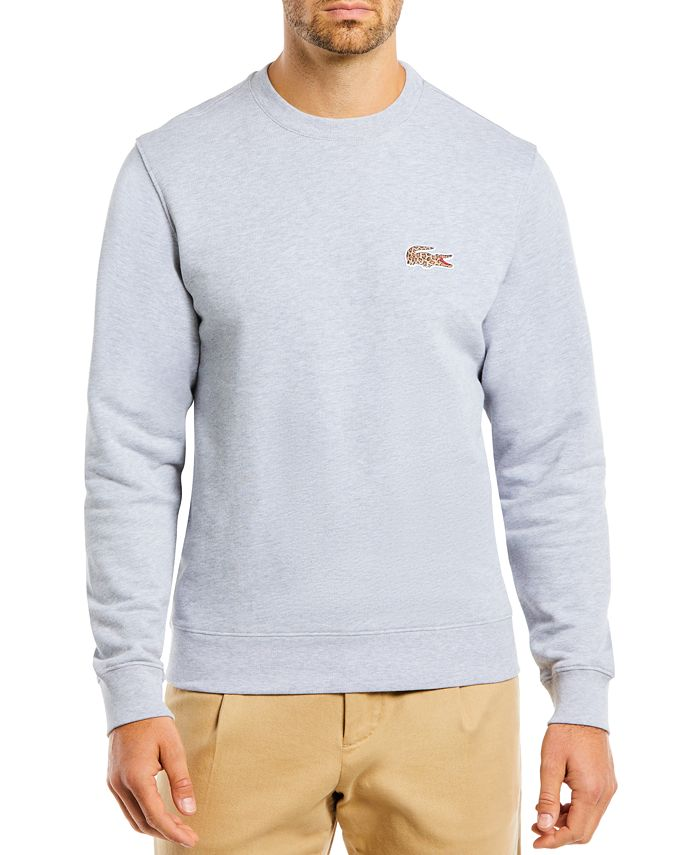 Lacoste - Men's Embroidered Animal-Print Croc Logo Fleece Sweatshirt