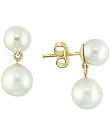 EFFY® Akoya Cultured Pearl (7 & 8mm) Drop Earrings in 14k Gold