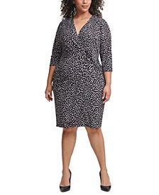 Plus Size Dot-Print Jersey Sheath Dress