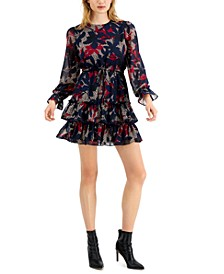 Floral-Print Tiered Ruffle Mini Dress, Created for Macy's