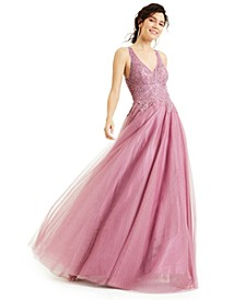 Juniors' Tulle Embroidered Gown, Created for Macy's