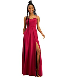 Juniors' Side-Slit Satin Gown with Pockets