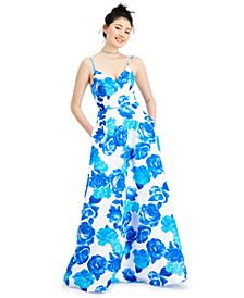 Juniors' Floral Satin Lace-Up-Back Gown, Created for Macy's