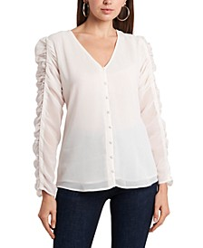 Ruched-Sleeve Button-Front V-Neck Top