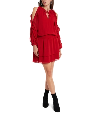 1.state COLD-SHOULDER RUFFLED-SLEEVE DRESS
