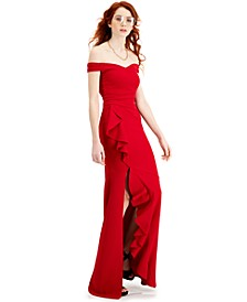 Juniors' Off-The-Shoulder Ruffled Slit Gown