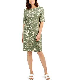 Petite Printed Boat-Neck Dress, Created for Macy's