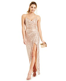 Juniors' Sequin Side-Pleated Gown