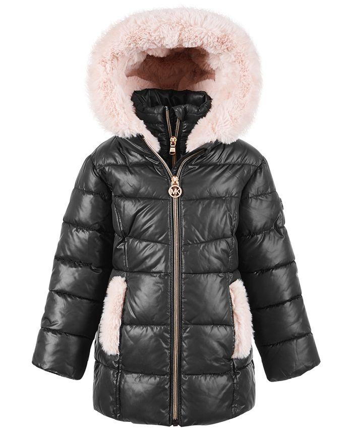 Michael Kors - Toddler Girls' Stadium Puffer Jacket With Faux-Fur Trim
