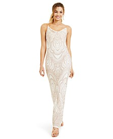 Juniors' Cowl Neck Glitter Slinky Gown