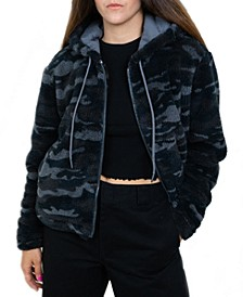 Junior's Camo-Print Hooded Faux-Sherpa Jacket