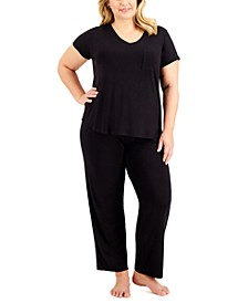 Plus Size Ultra-Soft Pajama Top & Essential Pajama Pants, Created for Macy's