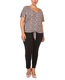 Plus Size Short-Sleeve Tie-Front Top