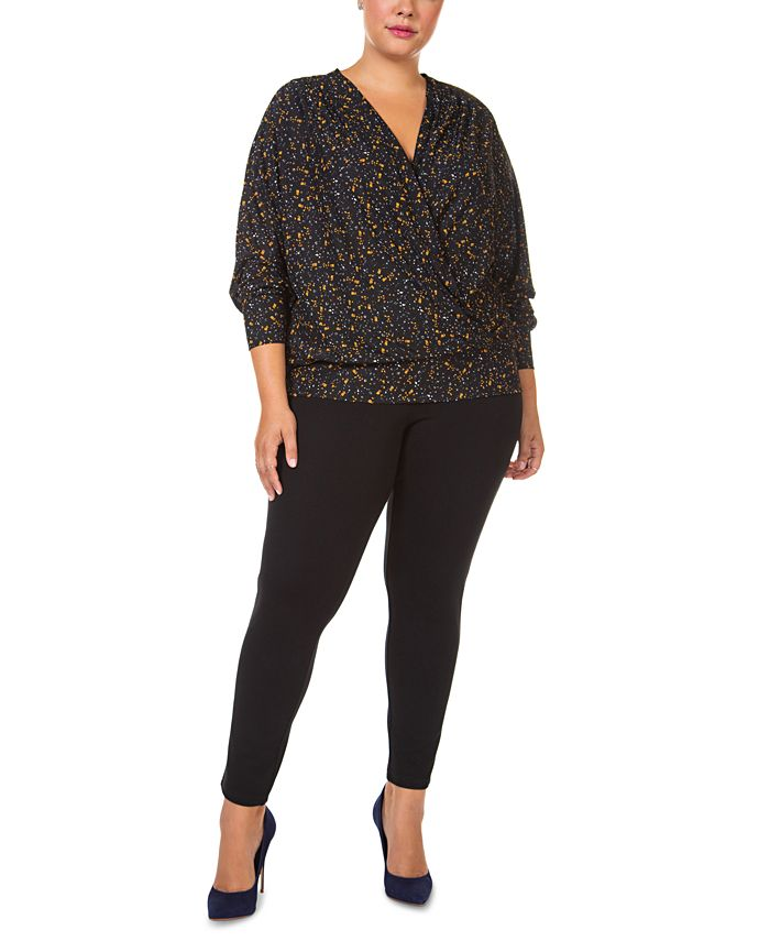 Black Tape - Plus Size Long-Sleeve Wrap Top