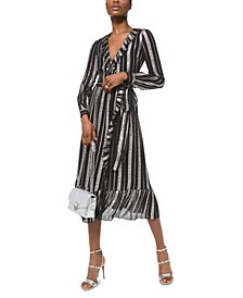 Stamped Floral-Striped A-Line Wrap Dress
